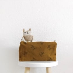 Vic Wash Bag Cat print Blue Cloud Ecru