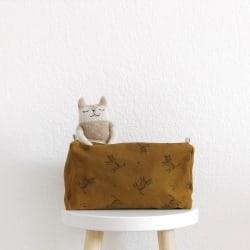 Vic Wash Bag Cat print Blue Cloud Ecru