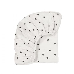 Fitted sheet Olivia Heart print ecru