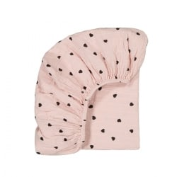 Drap housse Olivia imprimé Coeur light pink