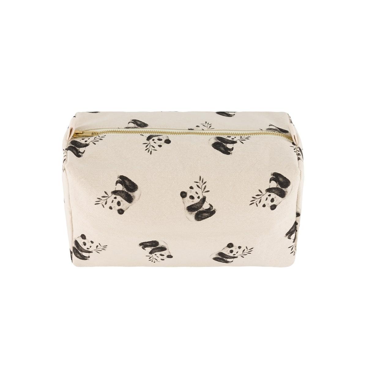 Vic Wash Bag Panda print Natural